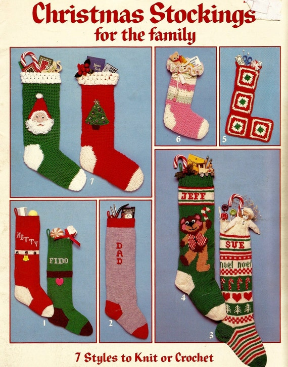 Christmas Stocking Knitting Pattern Straight Needles : Christmas stockings to crochet or knit leisure arts by