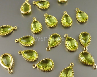 2 apple green 12mm glass charms, glass beads for diy jewelry making, craft supplies 5049G-AG-12 (bright gold, apple green, 12mm, 2 pieces)