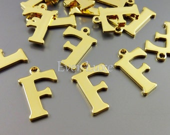 4 Letter F charms for personalized jewelry gold jewelry name charms for jewelry making inital necklaces 1907-BG-F (bright gold, F, 4 pieces)
