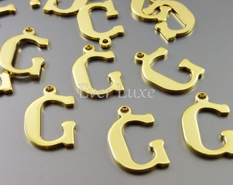4 Letter G charms for personalized jewelry gold jewelry name charms for jewelry making inital necklaces 1907-BG-G (bright gold, G, 4 pieces)