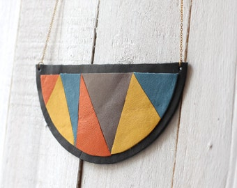 SALE Breast plate geometric made in leather - multicolored & black necklace