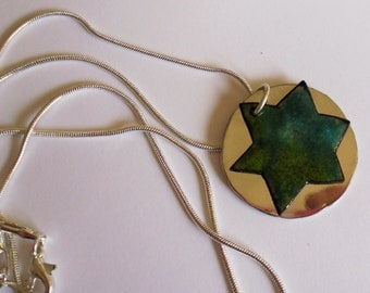 Enameled Star of David from Israel - Beautiful Forest Colors with Alpaca