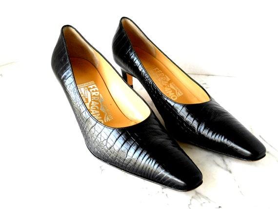 Salvatore Ferragamo Pumps // Black Croco Leather (7 B)