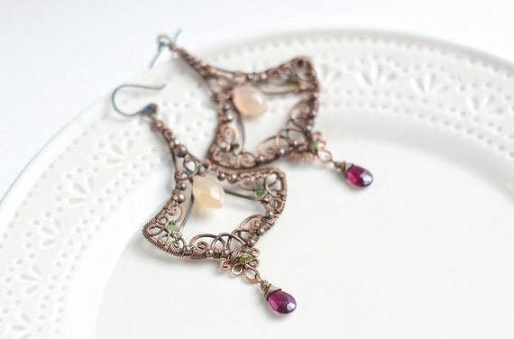 Wire wrapped copper filigree dangle earrings with peach moonstone, garnet and jade - oxidized antiqued hammered - FREE SHIPPING