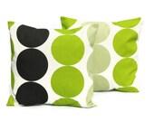 Pillows kiwi green black large spot disc cushion cover shams UK designer fabric covers Two 18 x 18 inch