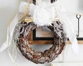Rustic Christmas Wreath, Door Wreath, Holiday Wreath, Door Decoration, Christmas Decoration, Frosted Wreath