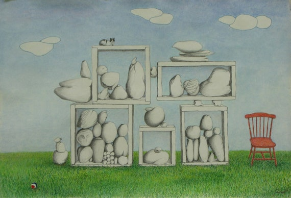"Graphite Crayon Pastel Drawing Surreal Minimalist Sky Rock Pile Chair Box Sky Cloud Quebec Canada By Jacques Audet ""Rock Study"" 18"" x 26"""