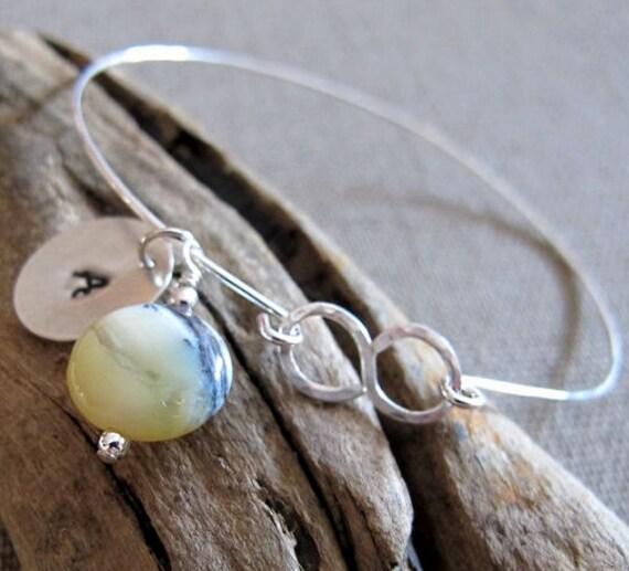 Yellow Opal Bangle Bracelet - Initial Sterling Silver Bracelet. Opal Gemstone Bracelet Libra birthstone Jewelry. Opal Bracelet Initial Charm