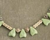 Vintage Deco Green Arrow Glass Beads