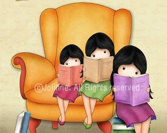 3 sisters wall art poster for girls room reading books wall decor nursery decoration wall posters for girls bedroom kids room pictures