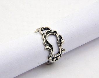 Sterling Silver  Victorian Keyhole Adjustable Ring Escutcheon - Gwen Delicious Jewelry Design