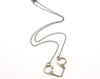 Two for One Sale....Handcuff Necklace - Silver White Bronze Necklace