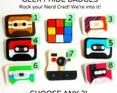 GEEK PRIDE Badges - CHOOSE 2 Rad Handmade Felt Brooches of Nerd Cred - Retro Cameras, Mix Tapes, Rubix Cubes - Ready to Ship