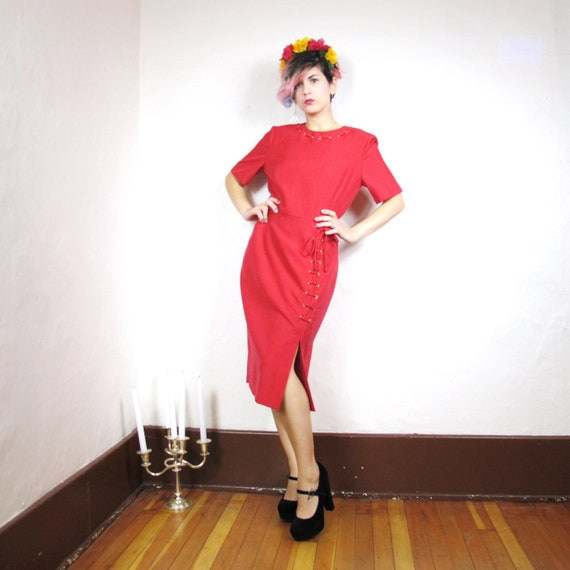 90s Red Siren Corset Dress (M)