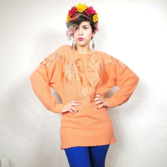 S A L E Tangerine Neon Dynasty Rhinestone Sweater (S/M)