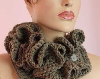 Sale 20% Off Fall Fashion -  Crochet  Light Olive  Scarf  - Neck warmer