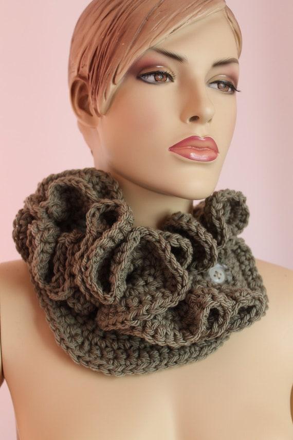 Crochet  Light Olive  Scarf -Fall Fashion - Crochet Ruffle Scarf Necklace - Neck warmer - Hyperbolic Crochet -  knit scarf