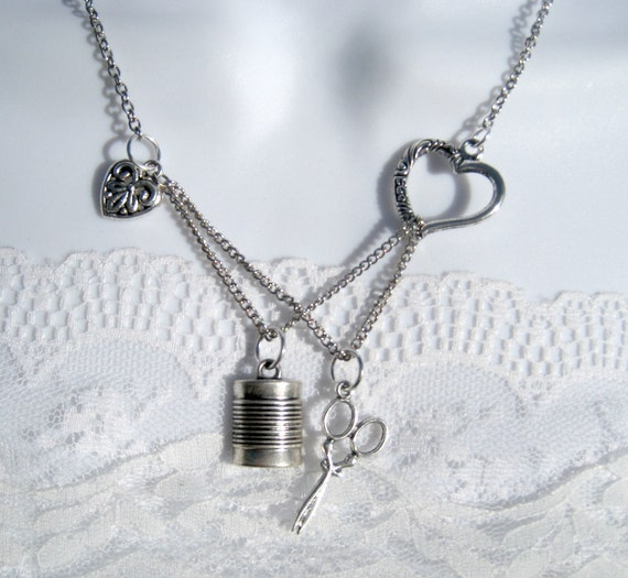 Love To Sew Necklace Seamstress Sewing Scissors Silver