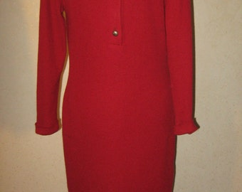 Vtg 80s Red Body Con Knit New Wave Shirt Wiggle Sweater Dress