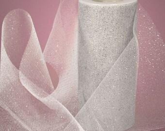 "5 yards - 3"" Glitter Metallic Silver Tulle Weddings Shower Party Tutu Birthday Decoration Bow Christmas Anniversary Holiday"