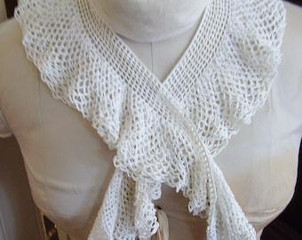 Vintage Collar Hand Crochet Double Ruffle