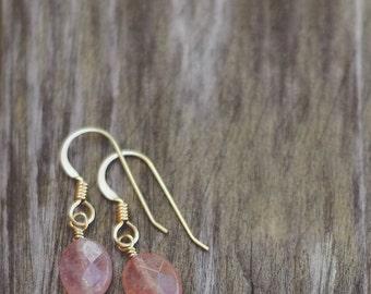 Sunstone Gemstone Earrings- 14k Gold Fill or Argentium Sterling Silver