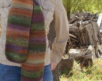 Tapestry: Wool Blend Multicolor Scarf - Crochet Scarf For Men or Women - Hoooked Scarves - Autumn Accessories - Green, Purple, Orange, Etc.