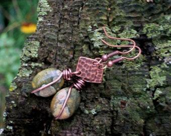 Rainforest Jasper Gemstone and Copper Wire Wrapped Earrings