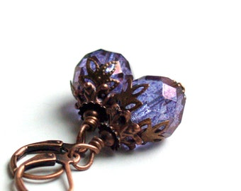 Dangle Glass Earrings, Beaded Earrings Amethyst Luster Czech Beads And Copper Earrings