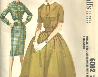 McCalls 6002 / Vintage 60s Sewing Pattern / Dress / Size 16 Bust 36