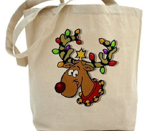 Christmas Canvas Tote Bag - Cotton Canvas Tote - Reindeer - Gift Bags - Holiday