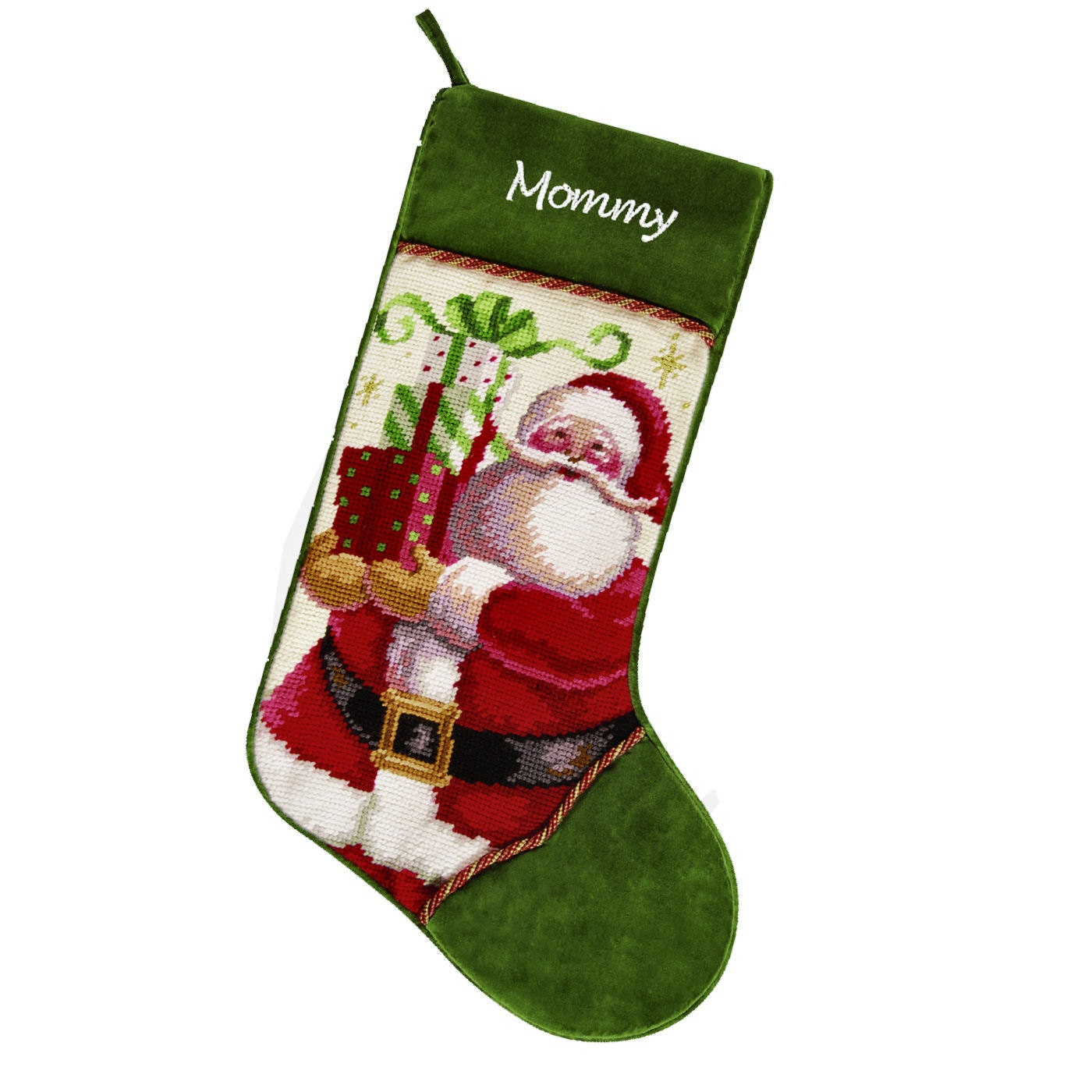 Needlepoint Christmas Stockings Santa With Presents By