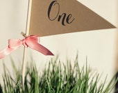 Pennant Table Numbers 1-10 with your color of satin ribbon