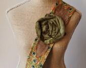 Headwrap Headband // Peacock Feather Print & Moss Green VELVET Rose