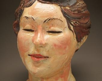 Bust Of A Woman, Ceramic Portrait Sculpture Head, Wall Art Face