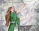 Sorcerer - SALE PRICE  fairy fantasy gothic art by Deanna Bach