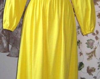 Peasant Dress Banana Yellow Smocked 60s VintageXS