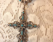 """22"""" Turquoise and Silver Necklace with Ornate Cross Pendant and Magnetic Closure"""