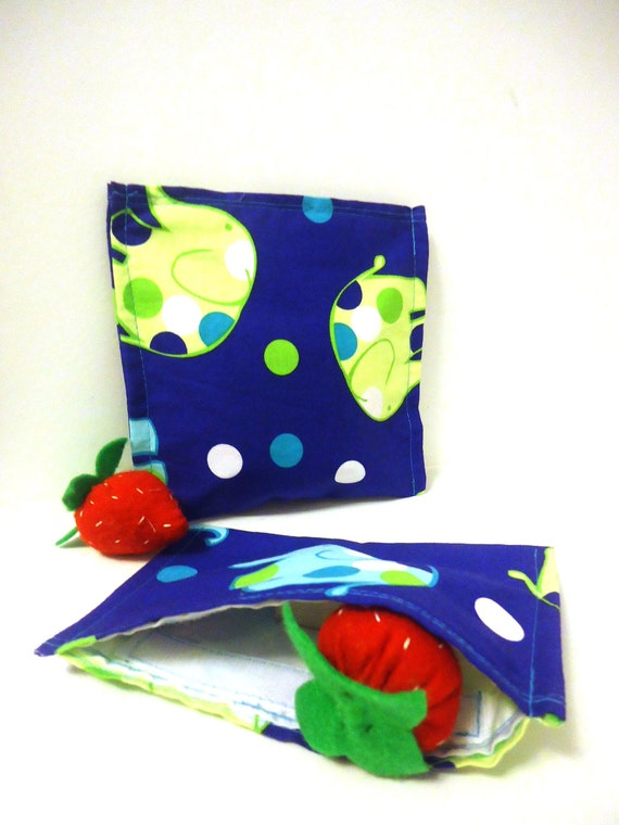 Reusable Sandwich and Snack Bag Set - Blue and Green Elephants -