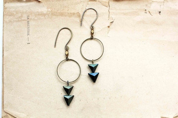 Cosmic earrings antique metallic pyramid glass beads sci-fi sparkle peacock geometric triangle faceted