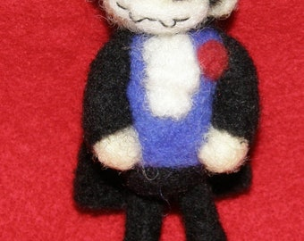 Count Dracula Vampire Prim Style Decoration in Needle Felted Wool