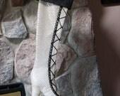 Cream and Black Sequin Diva Boot Christmas Stocking