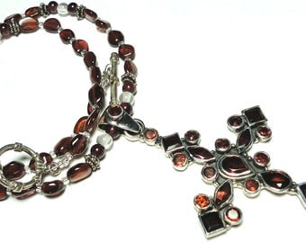 "Garnet Cross 3"" Tall Garnet Cross Sterling Pendant with Garnet Bead Necklace Large Garnet Cross Pendant in Sterling"