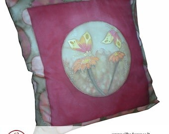 Hand painted silk decorative pillow Joy
