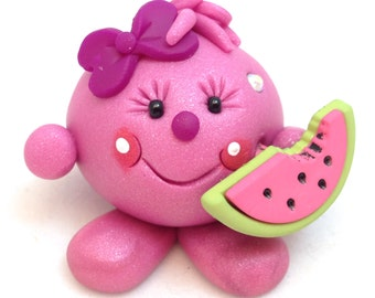 LOLLY with Watermelon - Polymer Clay Figurine - Whimsical Character