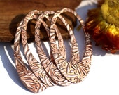 Copper 44mm x 23mm Teardrop Shape Fall Leaves Texture Cutout Blank for Stamping, Enameling, Metalworking, Patinas