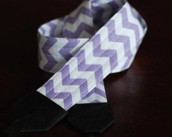Lavender Chevron SLR Camera Strap with Leather Ends - Free Shipping