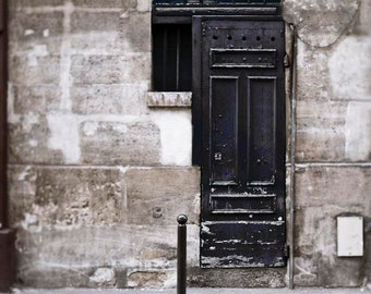 Paris Door, Rustic Art Print, Gray, Black, Architecture, Paris Photography, Black Door, Powder Room Art