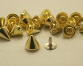 15 pcs.Zinc Gold Cone SPIKES RIVETS Studs Leather Craft Decorations Findings 8 mm. C R8 CH