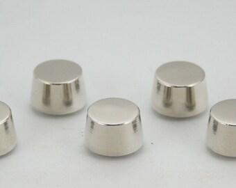 5 pcs. Silver Tone Round Flat Head Screwback Studs Leathercraft Decorations Findings 11x8 mm. BS N 109 SCB 87